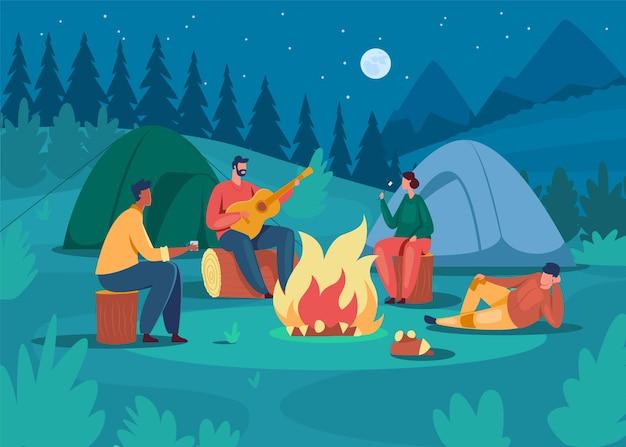 Illustrazione di persone in campeggio di notte