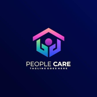 People care gradient line art style logo