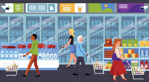 Personaggi dei cartoni animati di persone shopping nel supermercato, illustrazione in stile piano