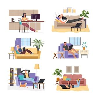 Fumetto di persone sognando a casa e in ufficio concetto