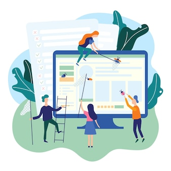 Persone che rilevano bug sulla pagina web software applicativo it che testa il team di controllo qualità per la garanzia della qualità.