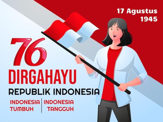 La gente celebra il giorno dell'indipendenza dell'indonesia dirgahayu hari kemerdekaan indonesia