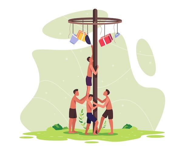 La gente celebra il giorno dell'indipendenza dell'indonesia. giochi tradizionali dell'indonesia durante il giorno dell'indipendenza. squadre di partecipanti che lavorano insieme per arrampicarsi per ottenere un premio in cima a un palo. vector in uno stile piatto