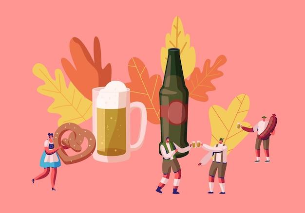 La gente celebra il festival dell'oktoberfest. cartoon illustrazione piatta