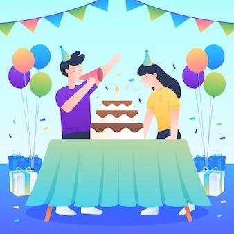 Persone che festeggiano il compleanno con torta e palloncini