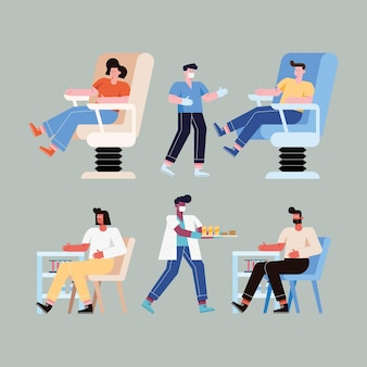 Persone su sedia che donano con set di icone di sangue blood