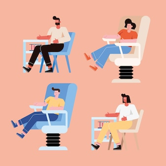 Persone su sedia che donano con la raccolta dei simboli del sangue