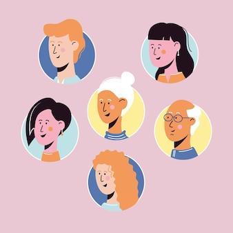 Collezione di modelli di avatar di personaggi di persone. illustrazione di persona piatta. set di volti maschili e femminili in cerchio. Vettore Premium