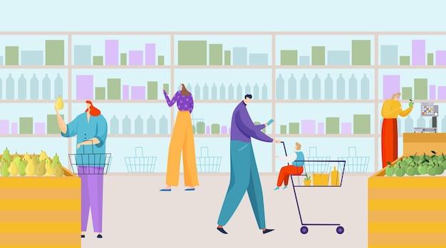 Il carattere della gente compra il prodotto nell'illustrazione piana del supermercato