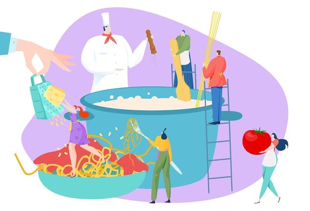 Persone carattere cucinare cibo piatto, uomo donna cucina concetto illustrazione