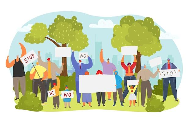 Persone gruppo di caratteri insieme dimostrazione protesta senza stop testo tablet città protesta piatto vect...