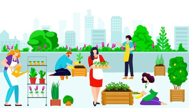 Carattere della gente insieme giardinaggio urbano del tetto