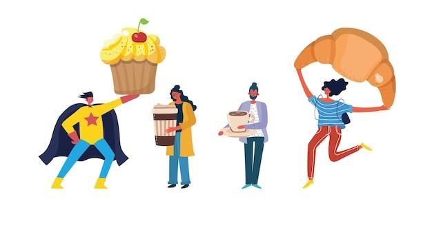 Personaggi di persone che bevono caffè e mangiano cibi dolci isolati insieme di set. illustrazione di design grafico piatto vettoriale