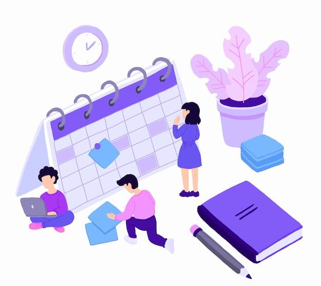 Persone personaggi pianificazione pianificazione con calendario.