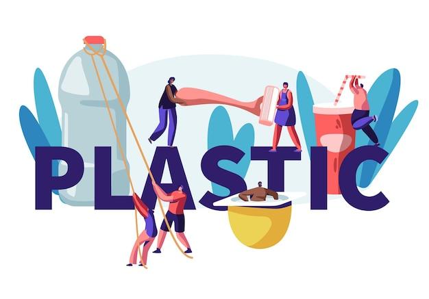 Caratteri di persone che utilizzano il concetto di cose di plastica. bottiglia d'acqua, tazza per bevande, macchina da barba, contenitore per yogurt, consumo di prodotti umani