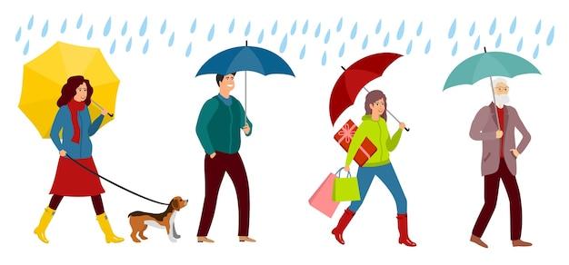 Personaggi di persone con l'ombrello. uomo e donna sorridenti sotto gli ombrelloni, tempo di autunno. giorno di pioggia