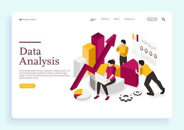 Personaggi delle persone che lavorano con la visualizzazione dei dati uomo e donna che analizzano il rapporto finale
