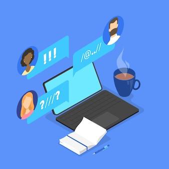 Le persone chattano sul forum nel concetto di internet. comunicazione online con un amico. connessione sociale. condividi opinioni con un gruppo di persone. illustrazione isometrica