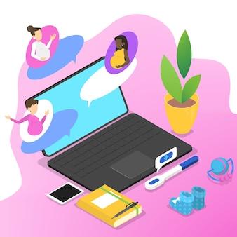 Le persone chattano sul forum nel concetto di internet. comunicazione online con donne incinte. connessione sociale. condividi opinioni con un gruppo di persone. illustrazione isometrica