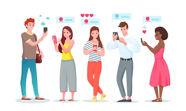 Persone in chat internet personaggi dei cartoni animati giovane donna in chat nel telefono di social media messenger