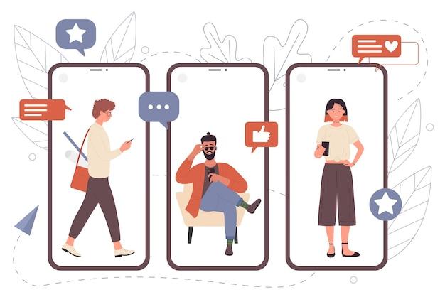 Persone che chattano con gli amici di comunicazione online nell'app di chat telefonica di giovane donna