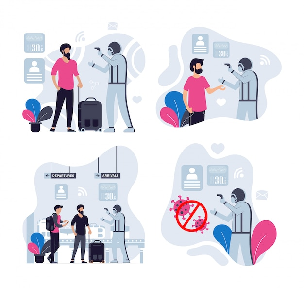 Persone che controllano la temperatura corporea prima dell'accesso a luoghi pubblici.