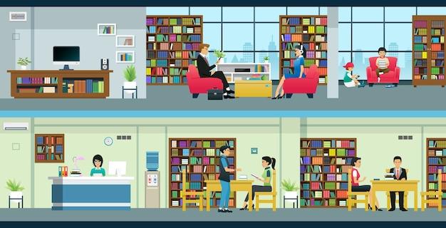 Persone e bambini stanno educando nelle biblioteche pubbliche.