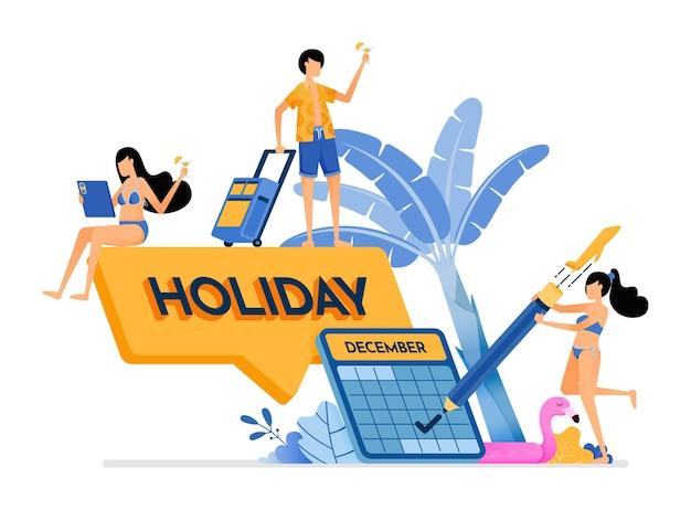 Le persone scelgono le date di fine anno per una vacanza