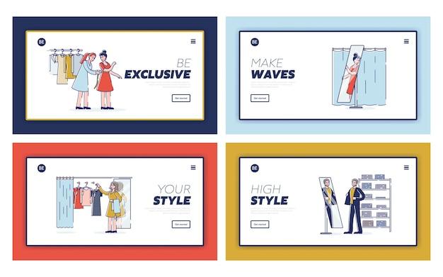 Persone che scelgono vestiti che provano nuovi vestiti e abiti personaggi dei cartoni animati