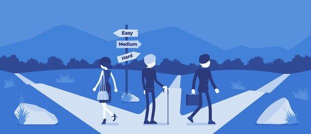 Persone che scelgono un percorso, una via, una direzione di vita. tre persone scelgono alternative tra indicazioni stradali facili, medie, difficili, gestione e metafora di guida. illustrazione vettoriale, personaggi senza volto