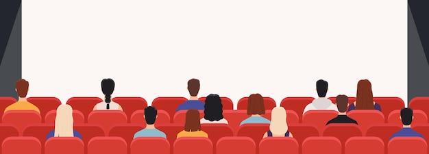 Persone nel cinema da dietro. pubblico del cinema che guarda film. uomini e donne pubblici che guardano lo schermo in sala con sedie, concetto vettoriale. donna e uomo, illustrazione del cinema di intrattenimento