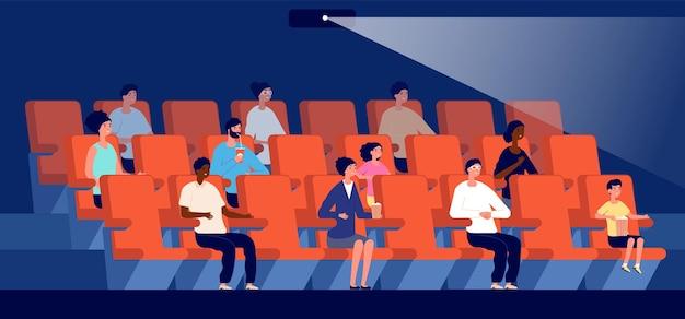 Persone al cinema. cinema, pubblico multiculturale guarda film. piccoli spettatori, coppia siedono sul sedile rosso nell'illustrazione vettoriale dell'auditorium. intrattenimento cinema teatro, teatro auditorium