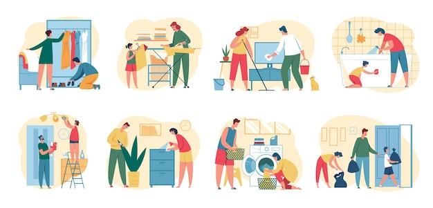 Persone che puliscono casa genitori con bambini che fanno le faccende domestiche insieme