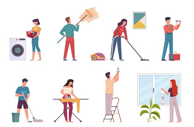 Le persone che puliscono. servizio di impresa di pulizie domestiche, uomini e donne che fanno le faccende domestiche. stirare, lavare il pavimento e aspirare i personaggi delle pulizie vettoriali