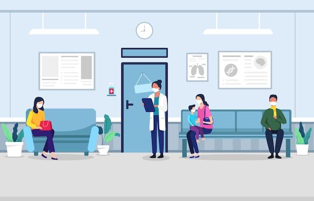 Persone in sala d'attesa clinica persone sedute su sedie e tempo di appuntamento in attesa in ospedale medico uomo e donna in coda presso la clinica aspettando in stile piatto illustrazione sala clinica