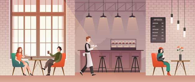Persone nella caffetteria. gli amici si incontrano e bevono caffè e si rilassano nella caffetteria.