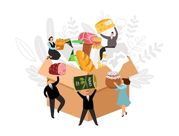 Le persone raccolgono i prodotti sulla scatola delle donazioni