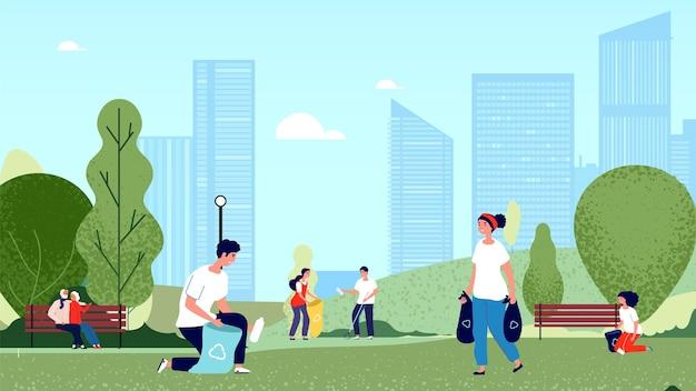 Persone che raccolgono immondizia nel parco cittadino. volontari pulizia ambiente natura. illustrazione di vettore di ecologia e pianeta pulito. persone nel parco che puliscono spazzatura, attivista sociale