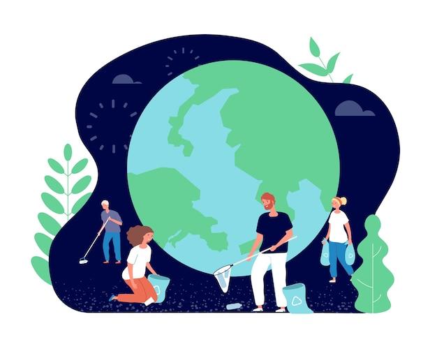 Persone che raccolgono spazzatura. volontari pulizia ambiente natura. ecologia e pianeta pulito. personaggi giovani felici, rifiuti zero
