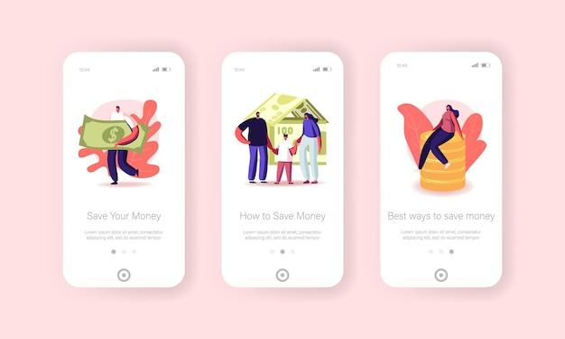 Persone che raccolgono e risparmiano denaro pagina dell'app mobile modello di schermo a bordo