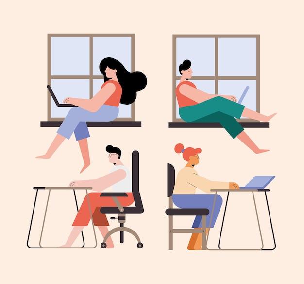 Raccolta di persone con laptop funzionante