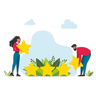 La gente raccoglie 5 stelle giganti l'uomo d'affari raccoglie una stella. buone prestazioni nei servizi e nel lavoro. concetto di design concettuale e aziendale. concetto di valutazione. feedback online, recensione del prodotto dei clienti