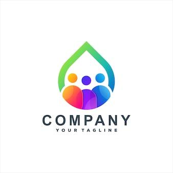 Persone colore gradiente logo design