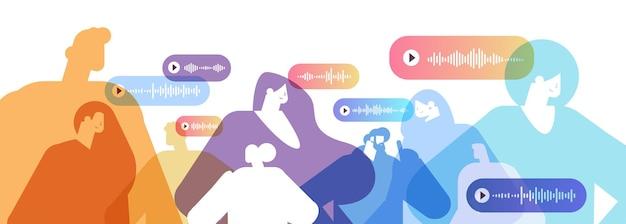 Le persone comunicano in messaggistica istantanea tramite messaggi vocali applicazione chat audio social media concetto di comunicazione online illustrazione vettoriale ritratto orizzontale