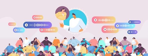 Le persone comunicano in messaggistica istantanea tramite messaggi vocali applicazione di chat audio social media concetto di comunicazione online illustrazione vettoriale orizzontale