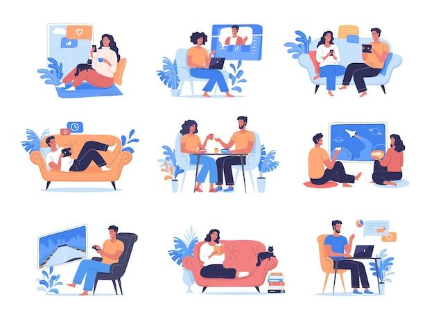 Le persone comunicano lavoro parlano giocano guardano la tv mangiano e si rilassano a casa loro