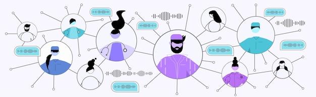 Persone che comunicano tramite messaggi vocali nei social media online dell'applicazione di chat audio dell'app mobile