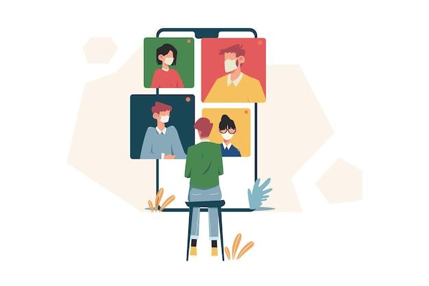 Comunicazione della gente sul telefono dello smartphone