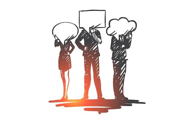Persone, comunicazione, conversazione, discussione, concetto di messaggio. persone disegnate a mano e simboli di schizzo di concetto di conversazione.