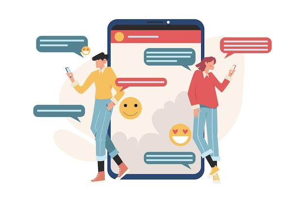 Comunicazione delle persone tramite smartphone per ottenere informazioni